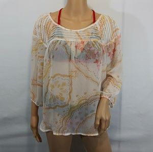 Lauren Conrad Sheer Top 3/4 Sleeve Size Large
